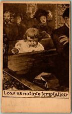"1911 Religion / Church Comic Postcard Baby in Pew ""Lead Us Not Into Temptation"""