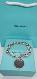 Authentic Tiffany & Co Silver Round Tag Charm Bracelet Blank