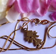 "14K Yellow Gold Little Girl Pendant Necklace, 16"" Long"