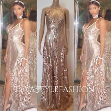 Rose Gold Sequin Formal Gown V-Neck Maxi Cocktail Party Prom Long Evening Dress