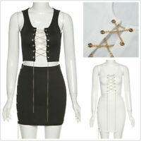 Women's Metal Chain Bandage 2 Piece Lace Up Crop Top and Bodycon Mini Skirt Sets