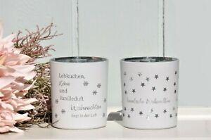 Windlicht Teelichtglas Sterne weiß Spruch Weihnachten Deko 2 Motive Shabby H.10