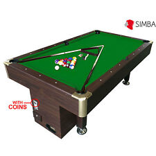 8 Ft Pool Table Billiard with coin machine for public places Green Cloth Zeus