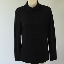 'YARRA TRAIL' BNWT SIZE 'L' BLACK SHIRRED FRONT LONG SLEEVE TOP