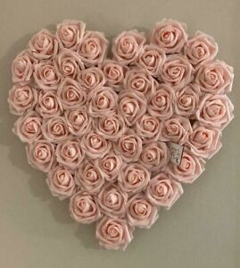 Mothers Day Large Blush Pink Foam Rose Heart Wall Hanging Decoration