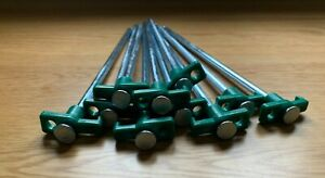 10 x Heavy Duty Hard Ground Rock Peg With Green Hook Top Camping Awning Tent