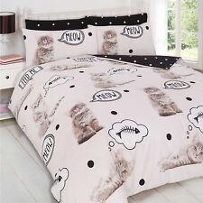 Duvet Cover with Pillowcase Bedding Set Cute Cat Kitten Meow Animal Print Cream
