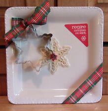 HALLMARK Christmas 7 x 7 inch Ceramic Plate SUGAR COOKIE RECIPE COOKIE CUTTER