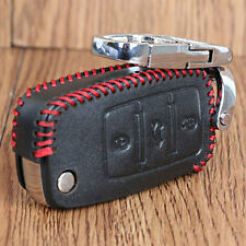 PU Leather Flip Remote Key Fob Keychain Case Cover For VW Bora Polo Jetta 3 BTNS