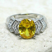 WONDERFUL 2.5 CT OVAL CITRINE YELLOW 925 STERLING SILVER RING SIZE 5-10