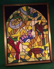 Judaic Hebrew Cross Stitch Needlepoint Marc Chagall Stained Glass Window  Framed