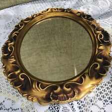 Vintage Plastic Oval Wall Mirror With Ornate Design And Gold Accent Color