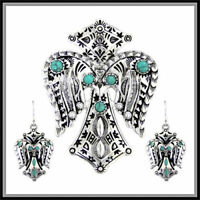 NAVAJO INDIAN CROSS biker TURQUOISE WINGS WESTERN SOUTHWEST PENDANT EARRING SET