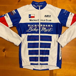 Louis Garneau Cycling Jersey Blue White Richardson Bike Mart Size M Men XL Women