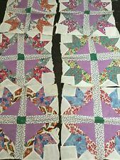 Antique Depression Era Quilt Squares Feedsack Star Handpieced 7 Blocks 14.5 Inch