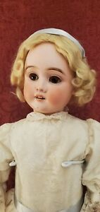 """Antique German Bisque Head Unmarked Doll Fully Jointed Marked Body 24"""" Beauty"""