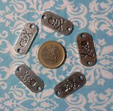 (R-9084)  15  PLACAS  COLOR PLATA   28 X 12 mm  ABALORIOS