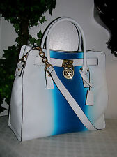 Michael Kors Hamilton Spray Large Leather N/S Tote Crossbody Bag White/Blue-NWT