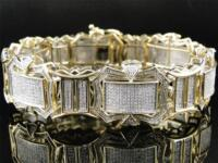 10K Mens Yellow Gold with Clear Diamonds XL 23 MM Bracelet Bangle 5.18 CT