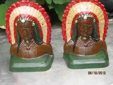 Antique Cast Iron INDIAN CHIEF Book Ends Painted BEAUTIFUL COLORS