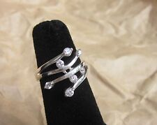 925 Sterling Silver Cubic Zircon RING   6,  8,  9  Multi Stones wide Ring