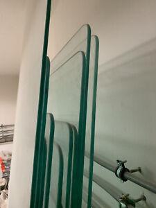 ESG Glas Scheiben 8 mm mit Glashaltern an Stahlsäulen, gebraucht