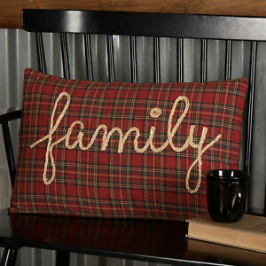 """VHC Brands Primitive 14""""x22"""" Family Pillow Red Rope Tea Star Text Bedroom Decor"""