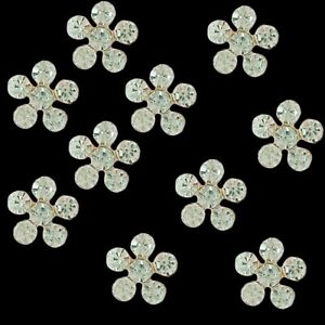 20pc Alloy Rhinestones Flowers Buttons for Crafts Hair Clips Decorations 11 mm