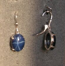 LINDE LINDY 16X12MM 17+  CTW CF BLUE STAR SAPPHIRE CREATED SS LEVERBACK EARRINGS