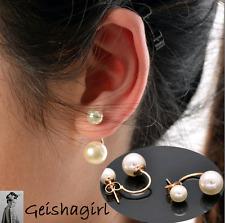 Fashion Women's Stud Earrings Gold Filled Double White Faux Freshwater Pearl UK