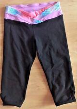 IVIVVA  by LULULEMON Black w Pink & Blue Crop Pants Girls size 8 Dance Yoga Gym