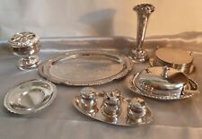 JOBLOT OF VINTAGE SILVER PLATED ITEMS-CONDIMENTS/VASES/TRAYS-MID 20TH CENTURY