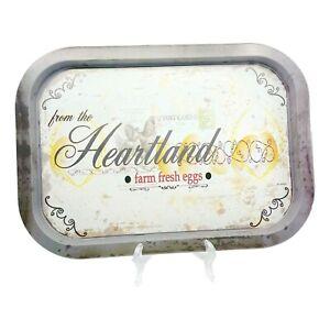 Farmhouse Metal Serving Tray Distressed Look Heartland Postcard Print Food Safe