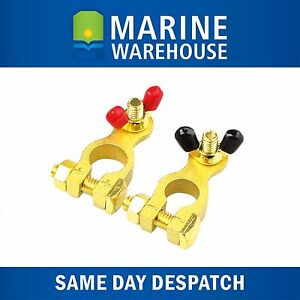 Battery Terminals Brass 8mm - Positive & Negative Coded Marine Car Truck 705620