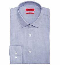 $291 Hugo Boss 15 32/33 Men Slim Sharp-Fit Blue White Long-Sleeve Dress Shirt