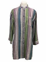 Chico's 1 Women's Size M Linen Striped Button Front Long Sleeve Tunic Top Shirt