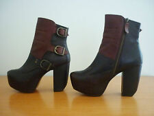 MIISTA BATILDA TWO TONE LEATHER HIGH HEEL ANKLE BOOTS W/ BUCKLE DETAIL SIZE 36