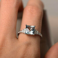 1.95 Ct Princess Aquamarine Engagement Ring 14K White Gold Natural Diamond Size