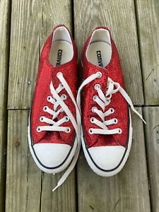 Converse All Star Red Glitter Women's Size 8 Chuck Sneakers Shoes