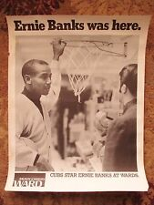1969 Montgomery Ward store display Poster Ernie Banks Chicago Cubs B 22x28