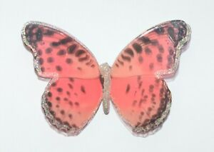 NEW BATH & BODY WORKS PINK SPARKLY BUTTERFLY MAGNET LARGE 3 WICK CANDLE DECOR