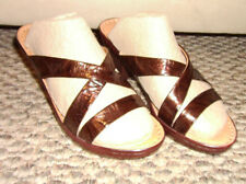 SPRING STEP Brown Patent Leather Heels Sandals Slides SZ 36 Eur, US SZ 5.5 -6
