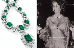 Big Hollywood Star Elizabeth Taylor Beautiful Emerald & Sparkling CZ Necklace