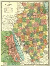 Chicago America Map.Chicago Illinois Antique North America County Maps Ebay