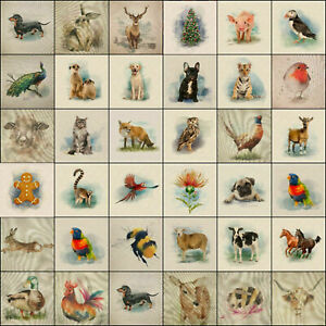 Fabric Cushion Panels Linen-look Country Creatures and Animals for Home Decor