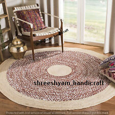 Fair Trade Jute & Cotton Braided Natural Round Indian Rug 120 cm Indian Carpet