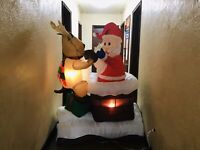 Gemmy Airblown Inflatable Reindeer Helping Santa Chimney Christmas Animated 6ft