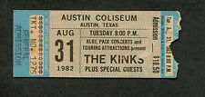 1982 The Kinks concert ticket stub Austin TX Give The People What They Want
