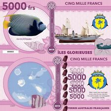 Glorieuses Island 5000 francs 2018 UNC Emperor Angelfish Sailing Ship Private