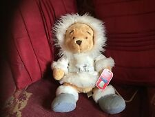 DISNEY WINNIE THE POOH SOFT TOY IN WHITE WINTER OUTFIT WITH BADGE NEW TAGS